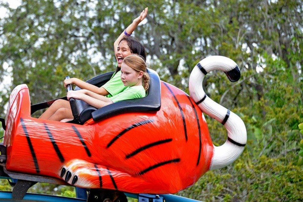 Family-friendly rides and other amenities are located throughout the park