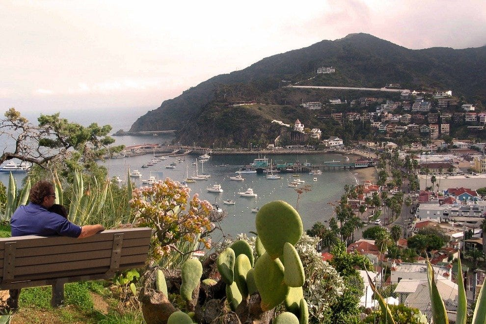 Lovers relish a romantic view of Avalon Bay.