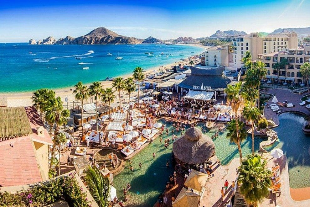 Nikki Beach is located poolside at the chic ME Cabo resort on Medano Beach