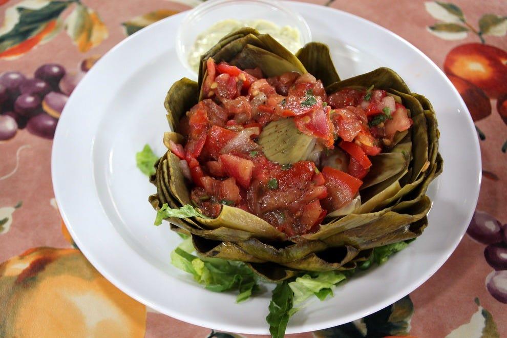 Grilled artichoke, The Whole Enchilada Restaurant,  Moss Landing