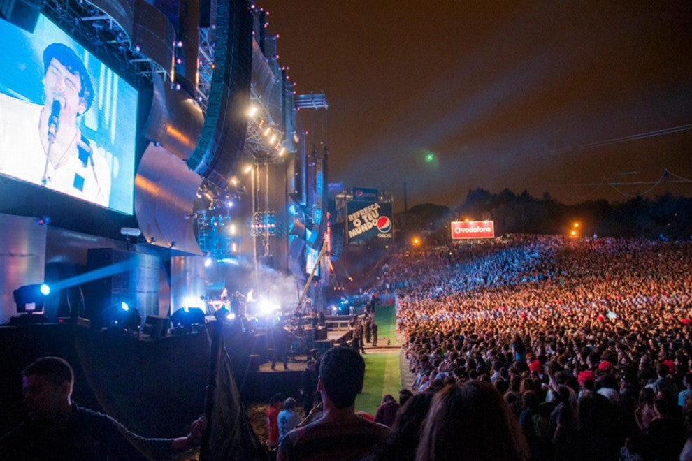 Thousands of rock fans in front of the World Stage during the Rock in Rio Lisboa music festival