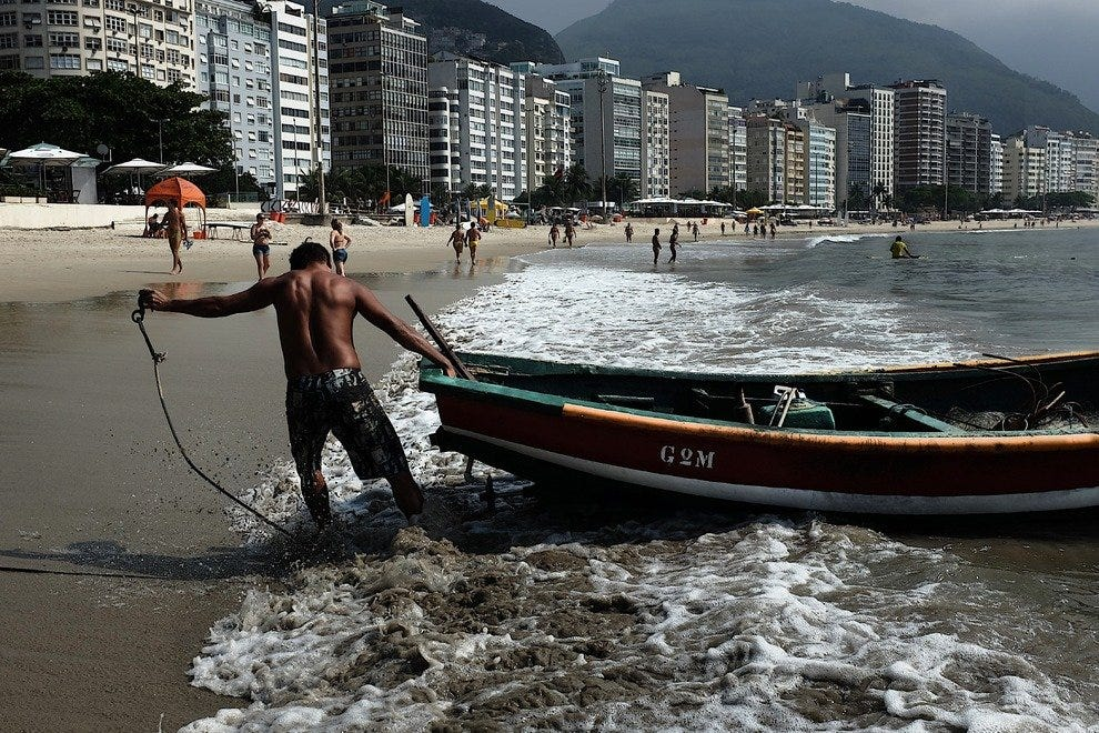 Fishermen on Copacabana Beach