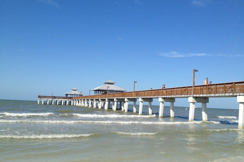 The Fort Myers Beach Pier is visible from Matanzas Pass Bridge