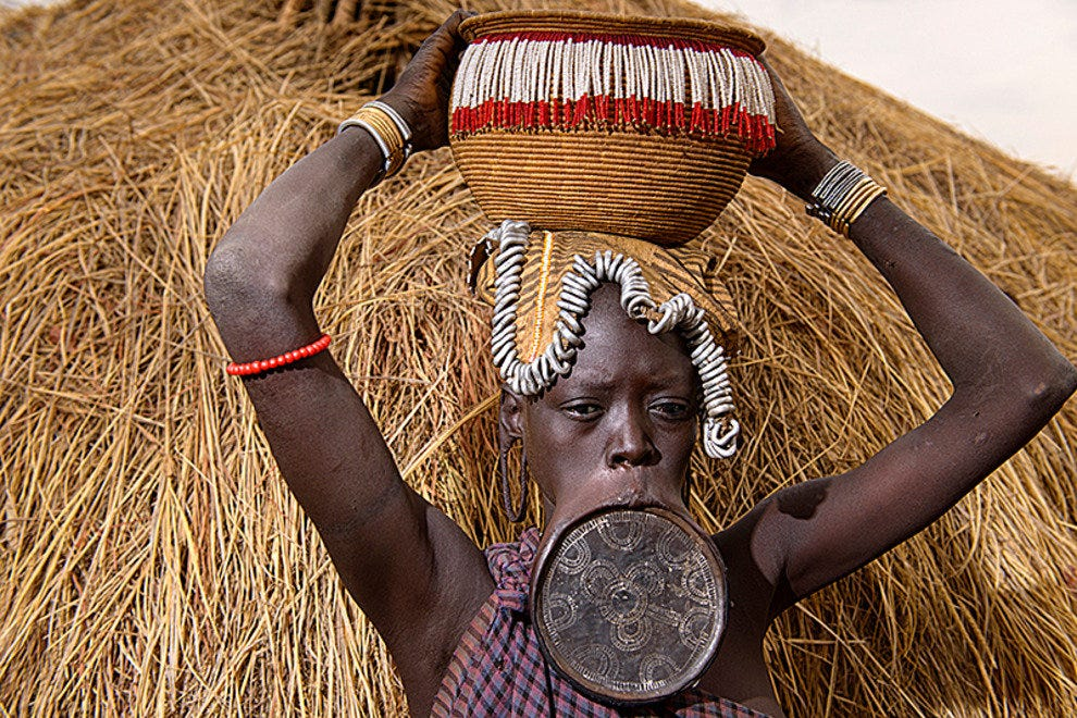 Mursi woman with her lip plate, Mago National Park