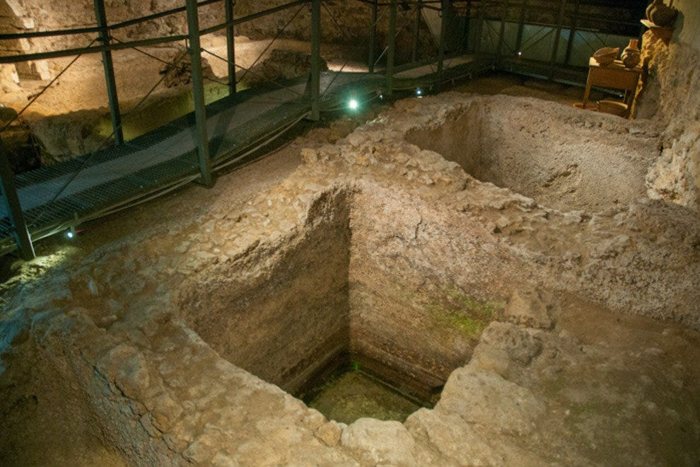 These Roman fish-preserving tanks are located in the subterranean Nucleo Arqueologico