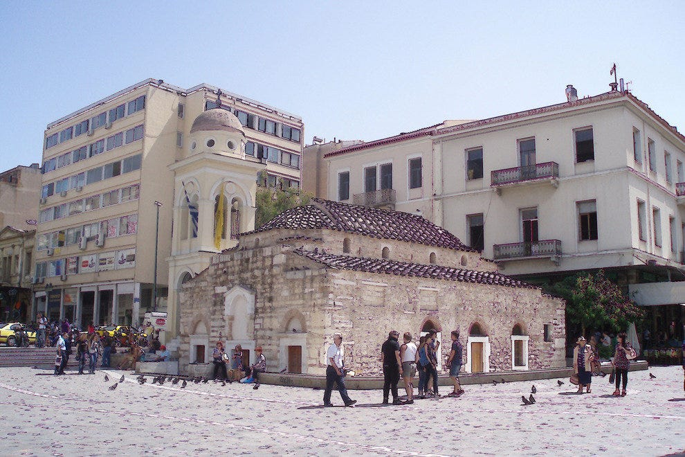 Monastiraki Square, one of many sights to see on this bike tour of Athens
