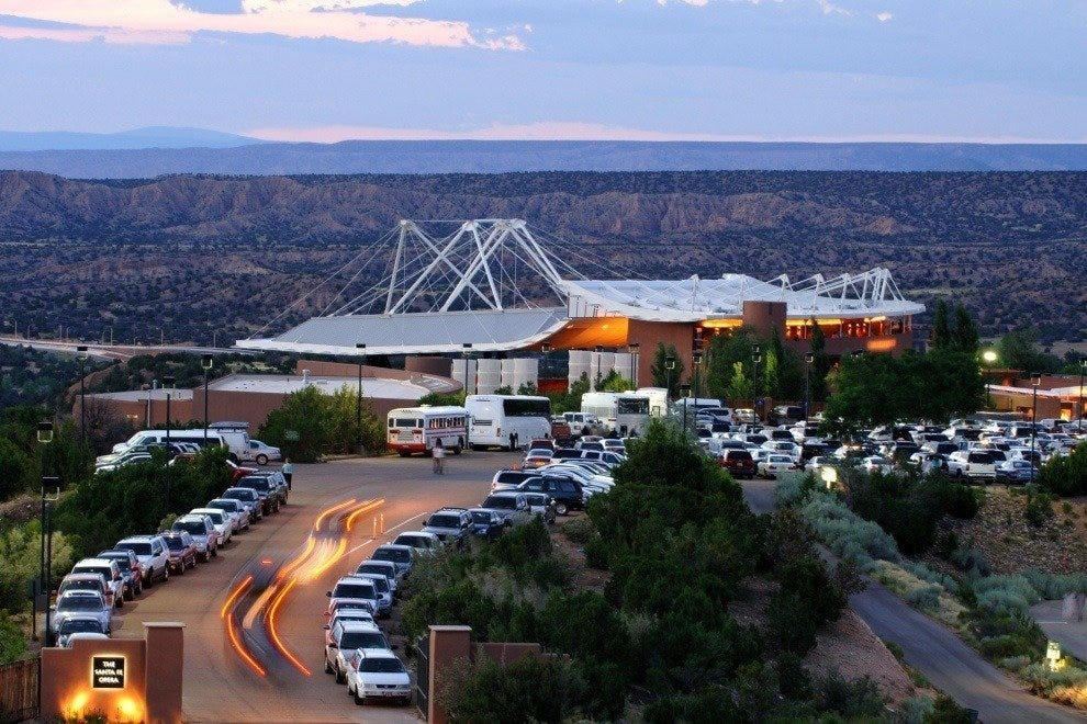 The Santa Fe Opera house at dusk