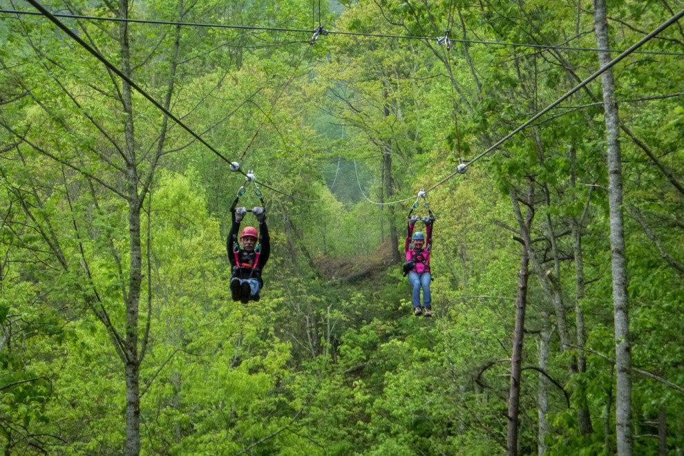 The new racing-style zipline at Navitat Canopy Adventures