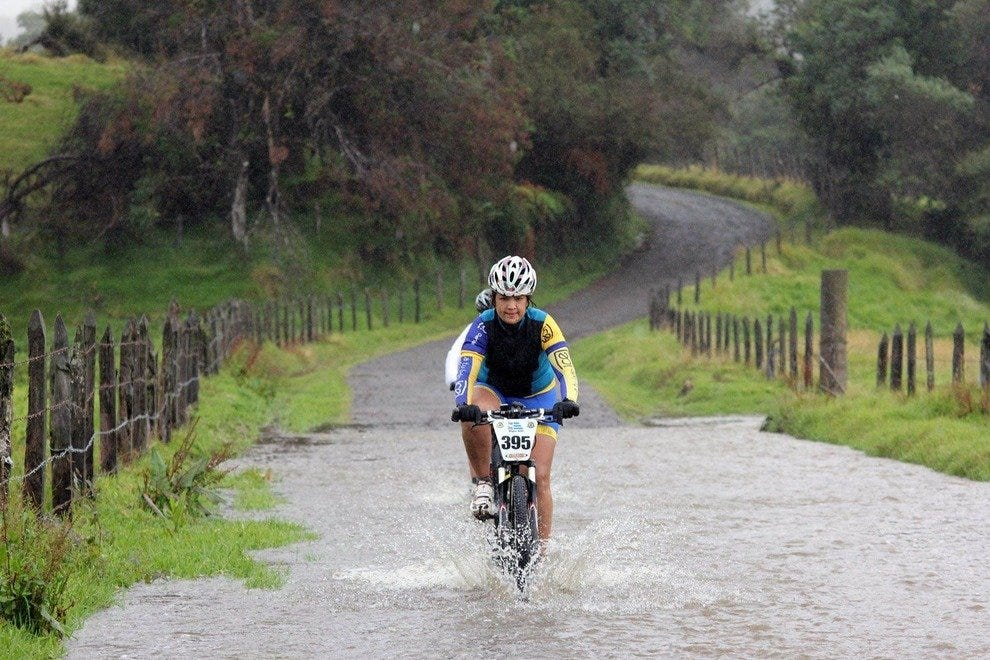Crossing a flooded road on La Ruta