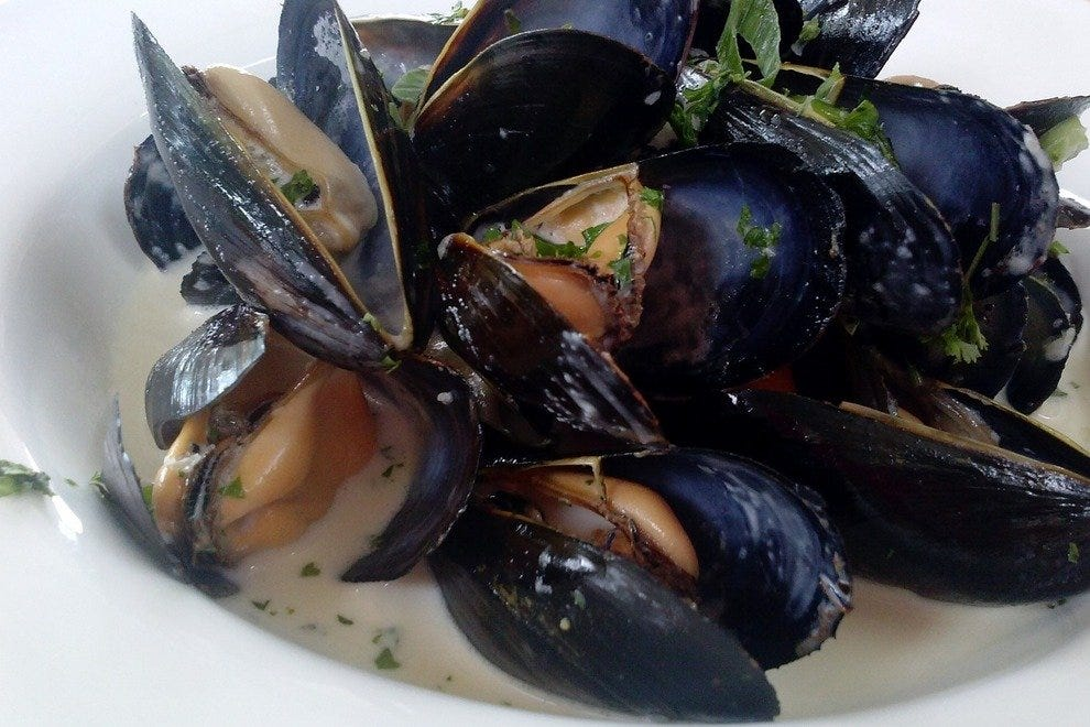 Moules marinieres. Certainly big enough to share, but you may not want to