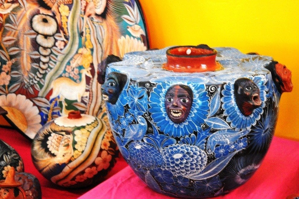Colorful pottery at the Folk Art Market