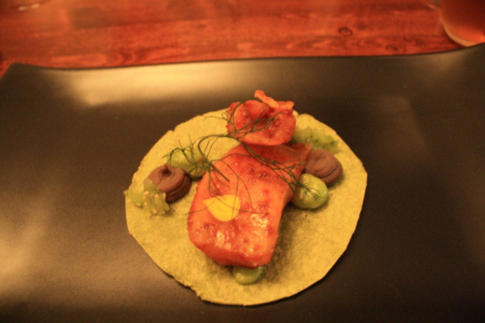 Halibut taco with poblano and black bean