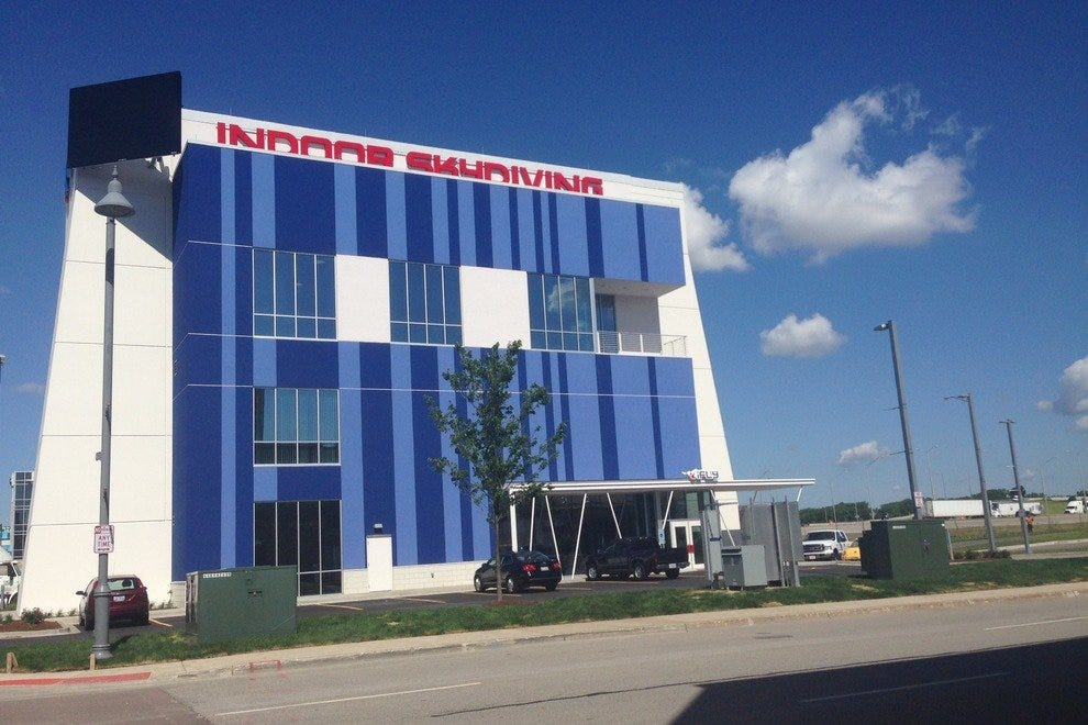iFLY is visible off the Kennedy Expressway and near O'Hare International Airport in Rosemont