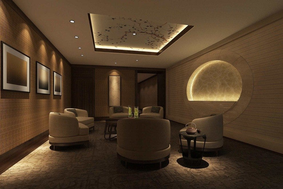The elegant and relaxing waiting room inside Chuan Spa