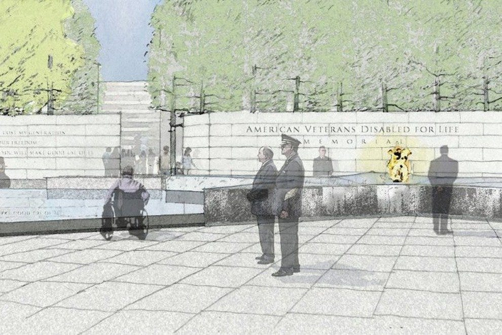A rendering of the completed American Veterans Disabled for Life Memorial