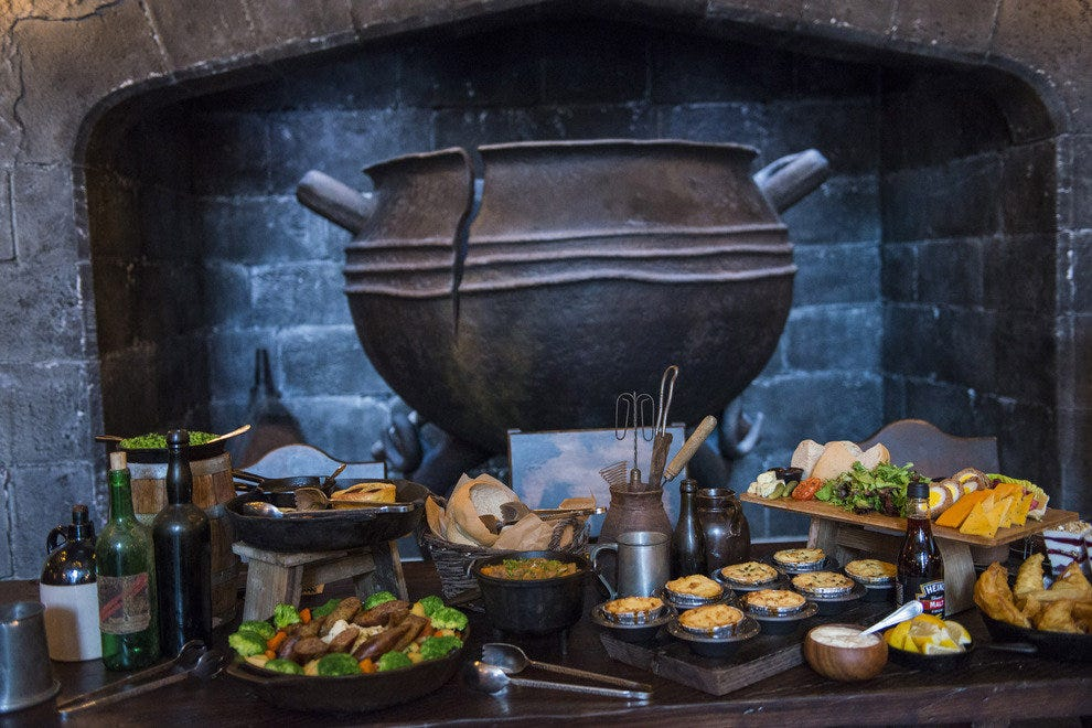 Authentic British pub fare makes up the menu at the Leaky Cauldron, the Wizarding World's newest eatery.