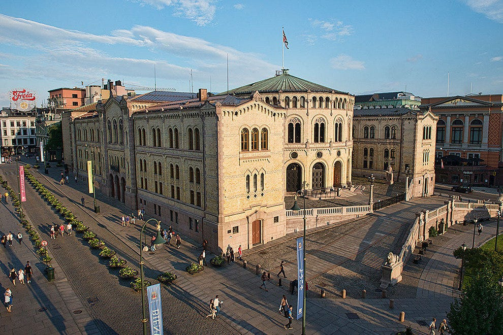 View of the Stortinget Norwegian Parliament Building