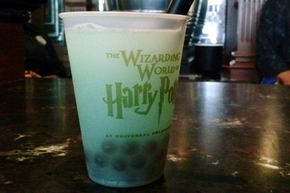 Fishy Green Ale is an interesting, adventurous beverage option at Diagon Alley, located inside Universal Studios Florida.