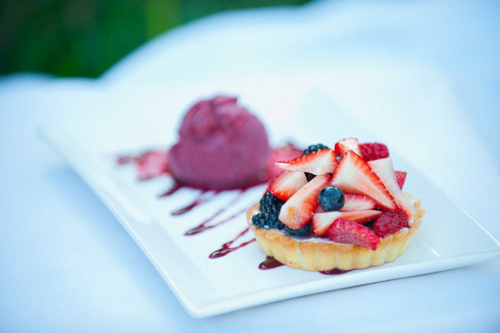 The mixed berry tart is a lovely and light finish to a meal