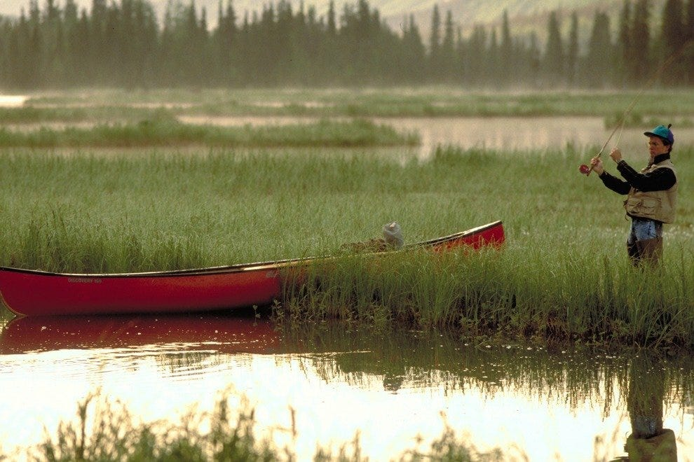 Fly fishing fans often enjoy fishing in solitude, not a good idea in Alaska.