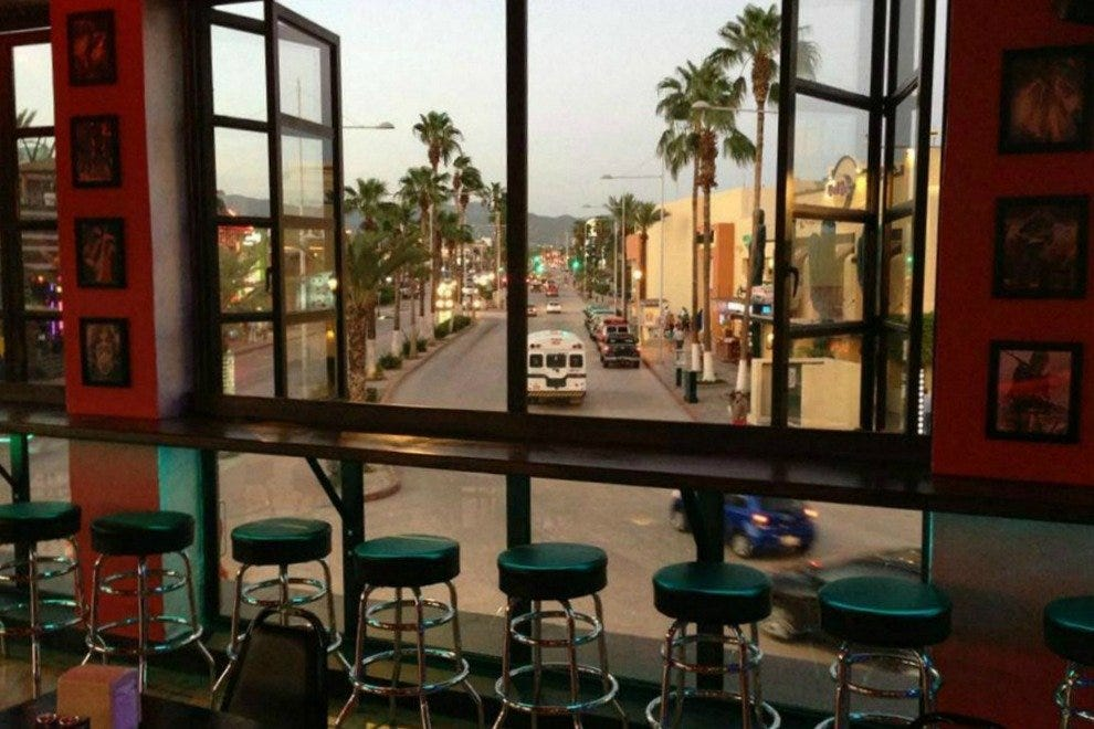 Rockstone Tavern & Eatery features scenic views of the palm-lined boulevard that houses many of Cabo San Lucas' best bars and clubs