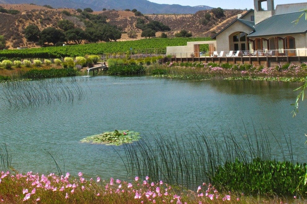 Wrath Wines' patio has a broad view of hills and a pond.