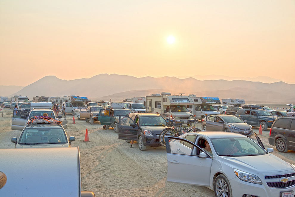 The line to get into Burning Man in 2013