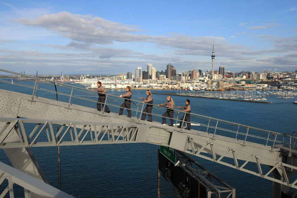 A guided walk on Auckland Harbour Bridge is one way to see Auckland.