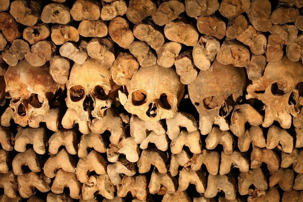Skulls and bones at Catacombes de Paris