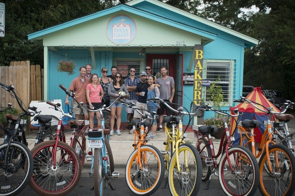 East Austin Electric Bike Food Tour brakes for cupcakes at Sugar Circus