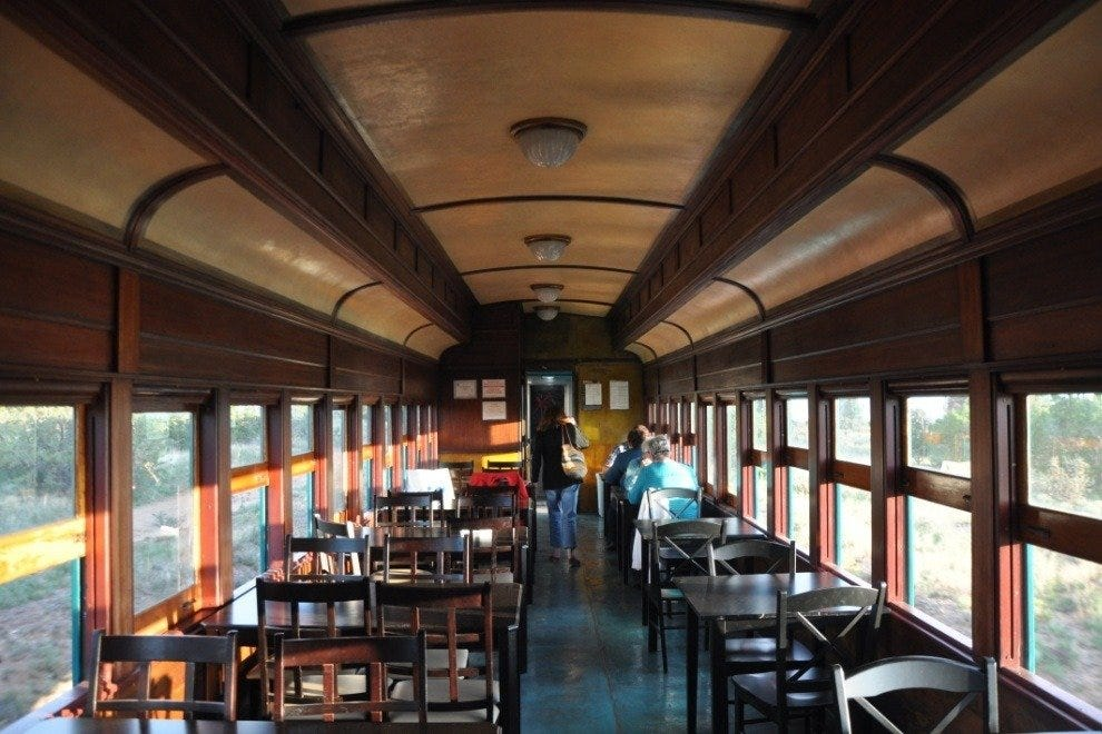 This 1920s former passenger was converted to the Turquoise Class dining cargo car