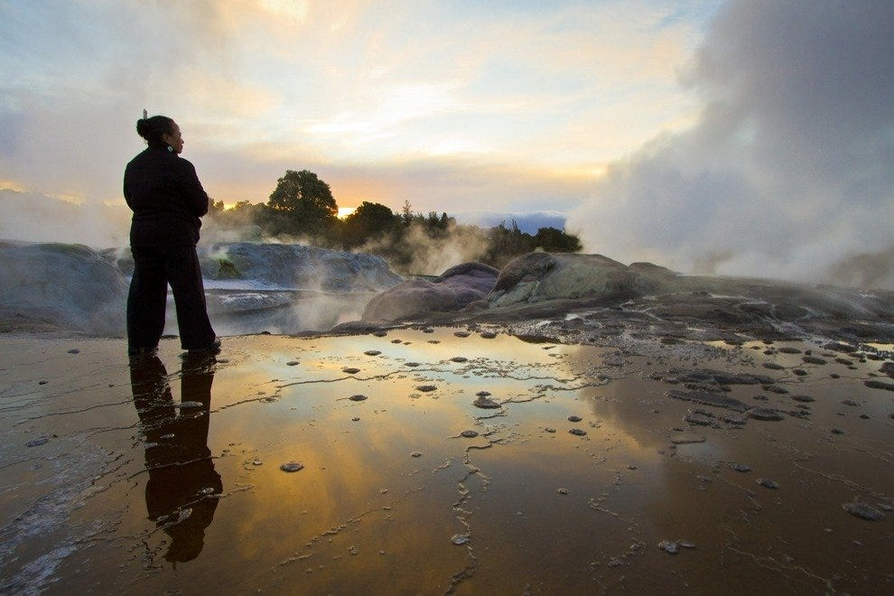 Ancient legends describe the origins of the geothermal field in Rotorua.