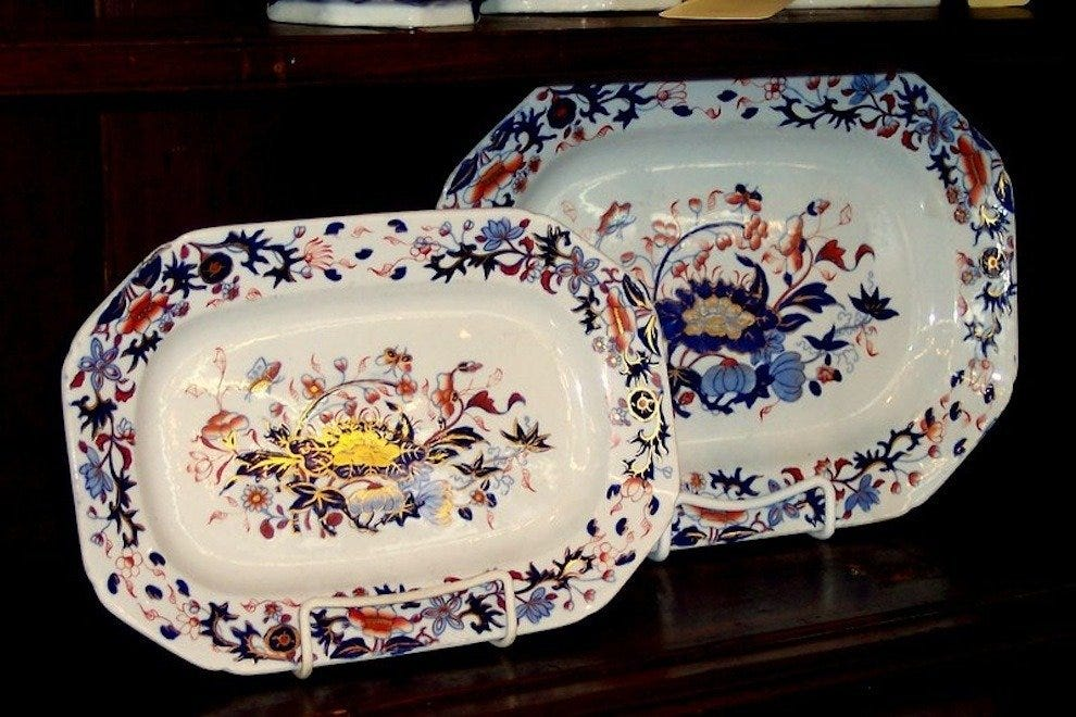 Antique English Spode ironstone platters
