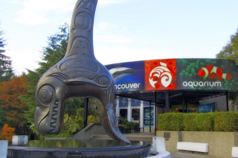 This artwork by Bill Reid greets visitors to the Vancouver Aquarium, one of the many draws to Stanley Park