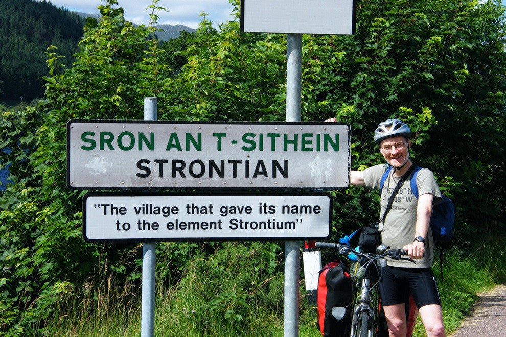 The village of Strontian gave the element strontium its name.