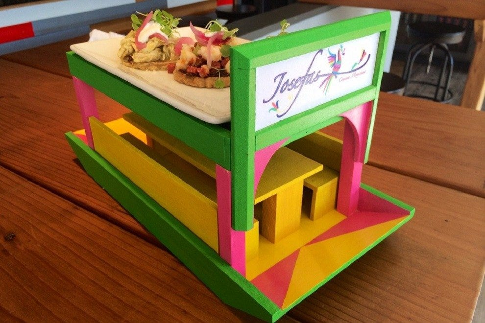 At Josefas Cocina Mexicana, tacos are served on a mini trajinera