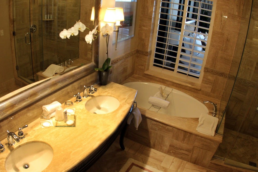 Soak your stress away in the St. Regis luxury bathrooms.