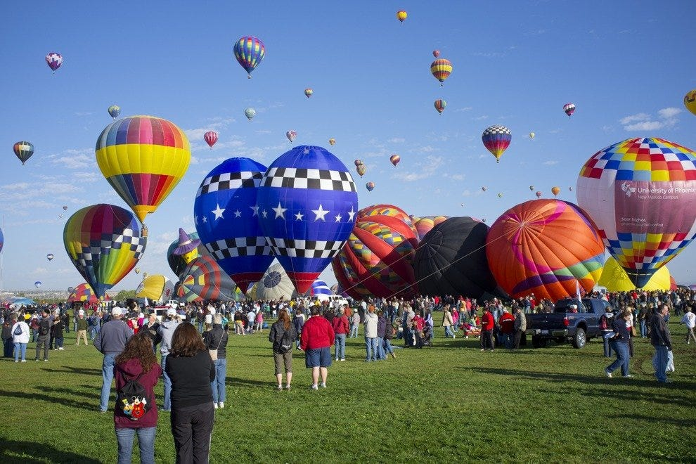 Mass Ascensions are by far the most popular events during Balloon Fiesta, during which all balloons launch in waves and paint the Albuquerque sky with color throughout the morning. Each day, more than 100,000 visitors from all over the world can attend th