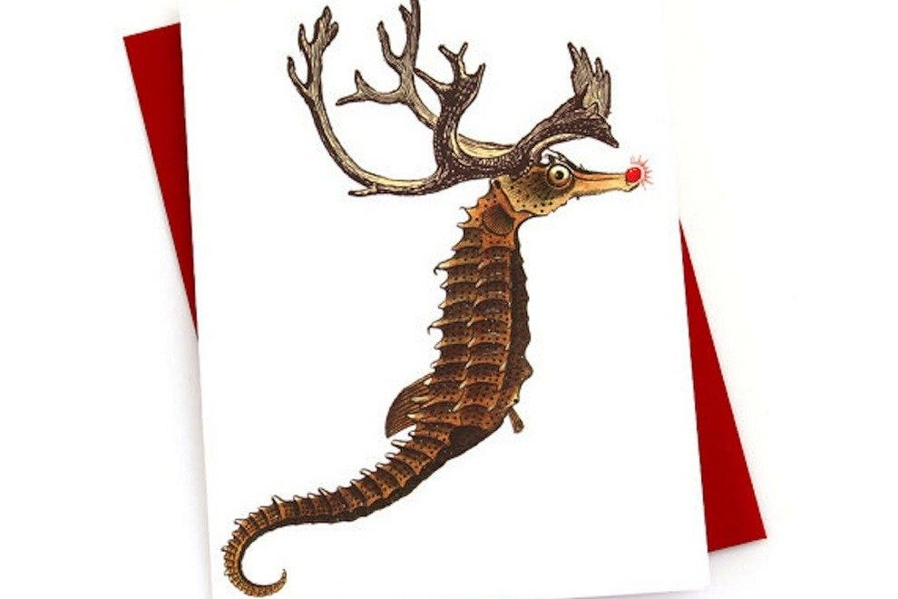 Seahorse reindeer holiday card by Space Coast card-maker Concertina Press