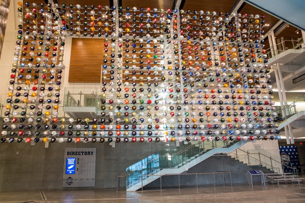 A wall of helmets pays tributes to legions of legends