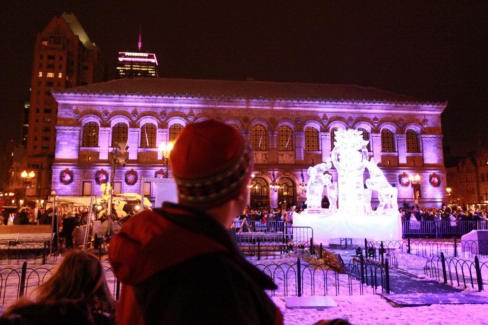 State House with First Night Ice Sculpture