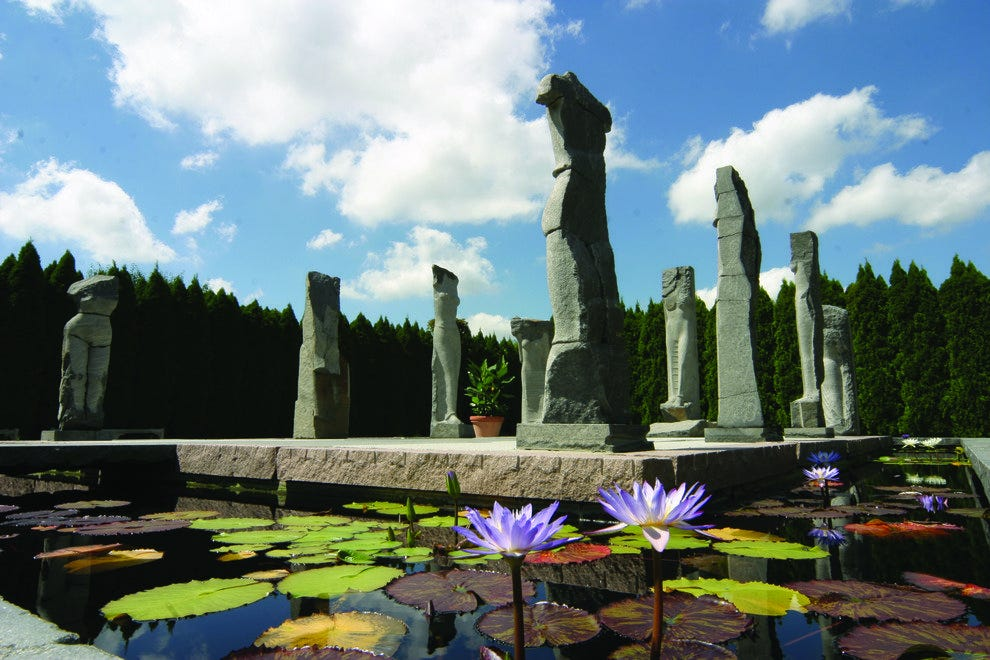 The Nine Muses are among the hundreds of sculptures in New Jersey's Grounds For Sculpture