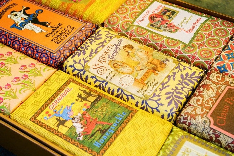 The collection of perfumed soaps are all packaged in colourful retro wrapping, featuring original designs and logos