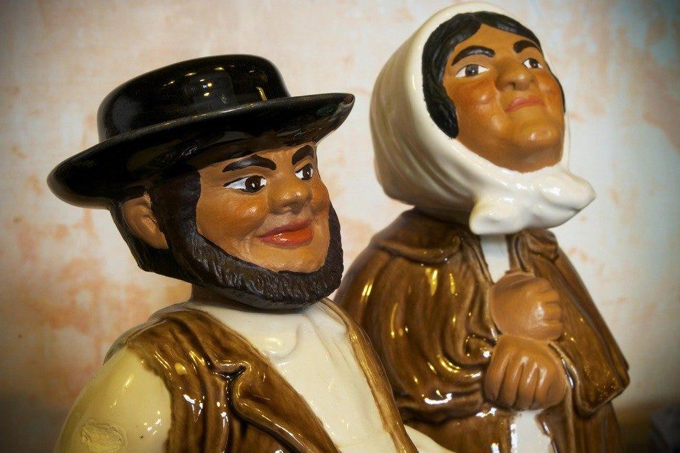 Ceramics on sale include the Everyman figure of Zé Povinho from a design by celebrated potter Rafael Bordalo Pinheiro