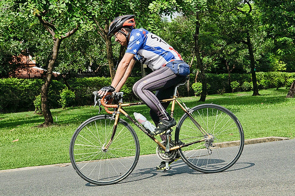 Cycling in Rama IX Park, Bangkok