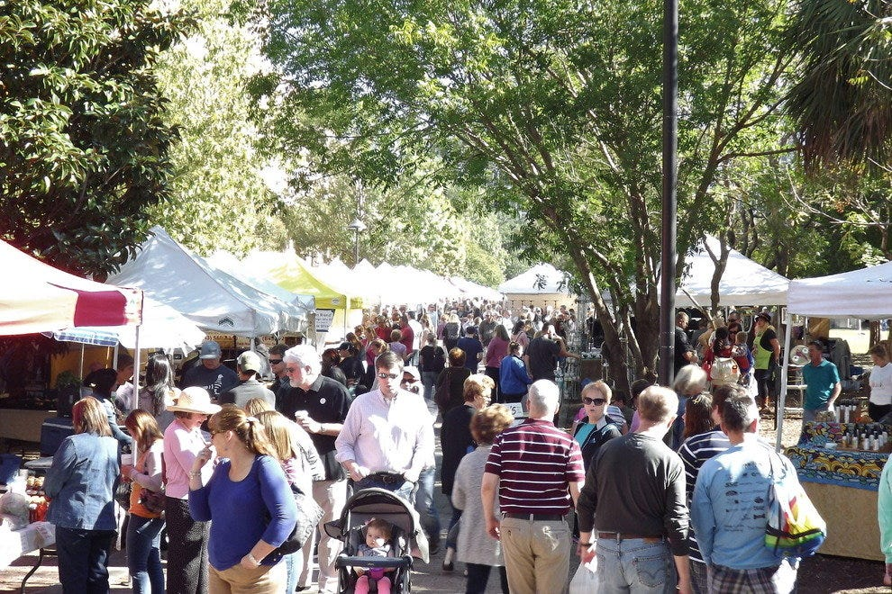 Visitors and locals alike flood the Charleston Farmers Market each Saturday from April to December