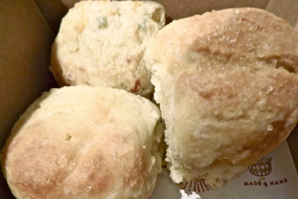 Buttermilk, blackberry and cheddar and chive biscuits