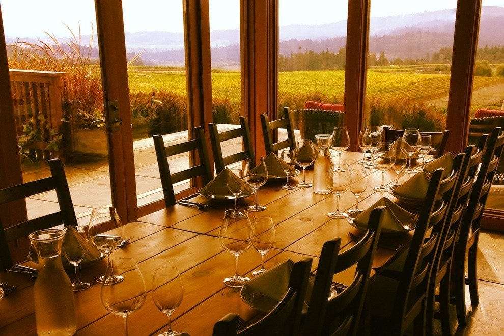 The Willamette Valley's Bethel Heights offers stunning vineyard views.