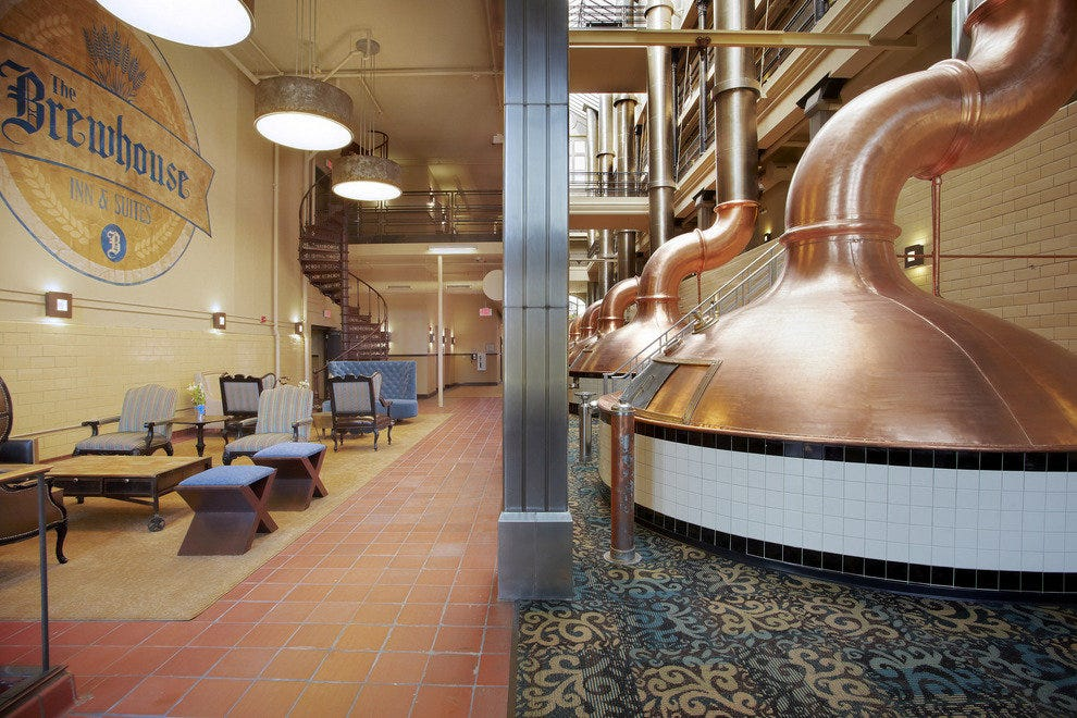 Brew kettles decorate the hallways in this former PBR brewhouse.
