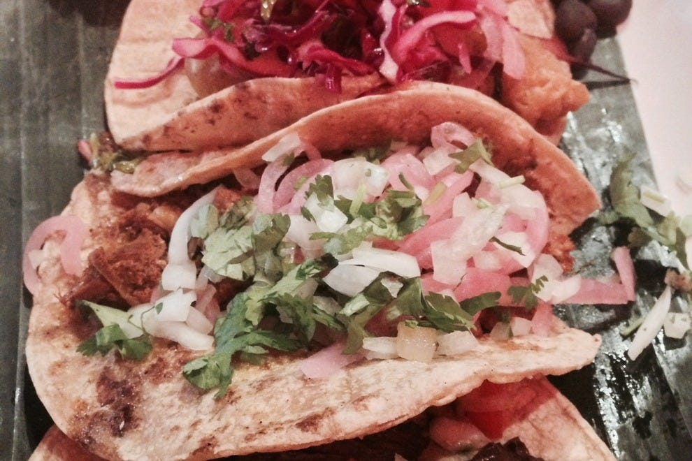 Try one or all of a dozen tacos at Araña Taqueria y Cantina